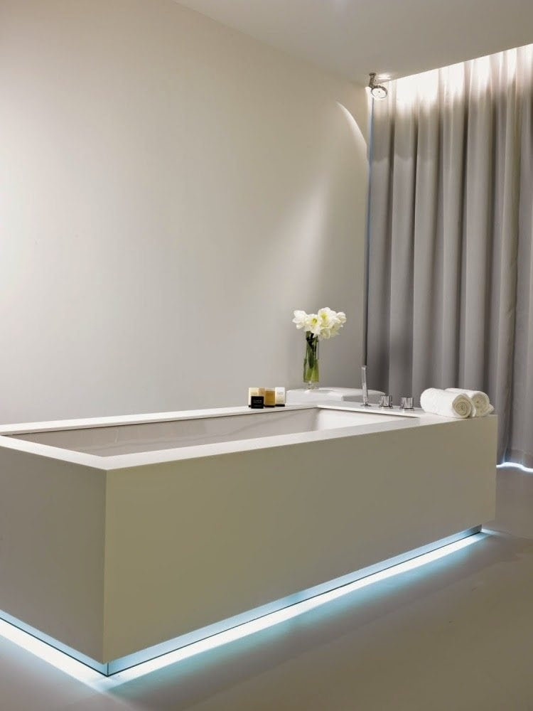 Better bathrooms with rgb led lighting visualchillout for Bathroom strip light